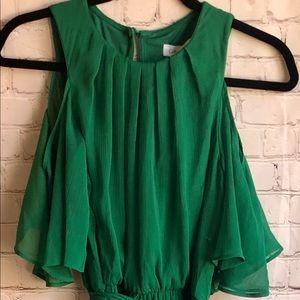 NWT Calvin Klein emerald green cold shoulder dress